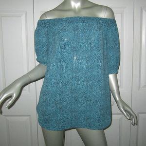 MICHAEL KORS Black/Aqua Print Off Shoulder Blouse